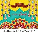 happy diwali festival design.... | Shutterstock .eps vector #1529763437