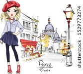 Vector Cute Blond Girl In Red...