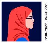 profile of a muslim girl. side... | Shutterstock .eps vector #1529819954