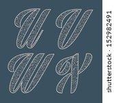vector set of lace letters. u v ... | Shutterstock .eps vector #152982491