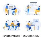 business team meeting  analysis ... | Shutterstock .eps vector #1529864237