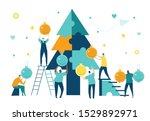business people decorate... | Shutterstock .eps vector #1529892971