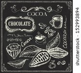 hand drawn cocoa and chocolate... | Shutterstock .eps vector #152993894