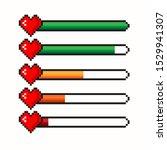 pixel game life bar. vector art ...   Shutterstock .eps vector #1529941307