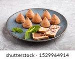 chocolate truffle on blue... | Shutterstock . vector #1529964914