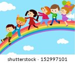 group of children and rainbow | Shutterstock .eps vector #152997101