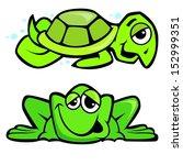 Cartoon Sea Turtle And Frog