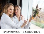 blonde young girlfriends... | Shutterstock . vector #1530001871