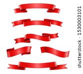 realistic red ribbons... | Shutterstock .eps vector #1530003101