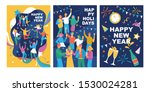 set of posters with happy young ... | Shutterstock .eps vector #1530024281