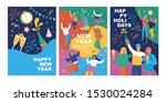 set of posters with happy young ... | Shutterstock .eps vector #1530024284