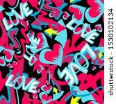 graffiti colored hearts... | Shutterstock . vector #1530102134