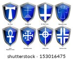 shields with crosses   Shutterstock .eps vector #153016475