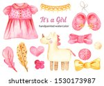 Watercolor Set With A Dress Fo...