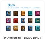 book icons set. ui pixel...