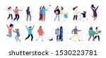 people in winter. men and women ... | Shutterstock .eps vector #1530223781