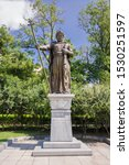 Small photo of Sofia, Bulgaria - June 25, 2019: Statue of the Byzantine emperor tzar Samuil, made in 2015