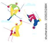 Sportsmen Freestyle Skiing Jump....