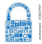 Abstract lock made of security icons, security concept