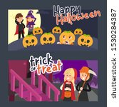 fun halloween flat illustration ... | Shutterstock .eps vector #1530284387