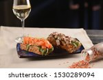 Stock photo salmon and herring tartare on slices of fried bread 1530289094