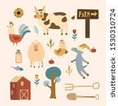 farm set with animals  pets ... | Shutterstock .eps vector #1530310724