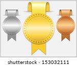 golden  silver and bronze... | Shutterstock . vector #153032111