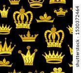crown vector seamless pattern.... | Shutterstock .eps vector #1530372464