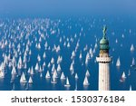 Small photo of TRIESTE, ITALY - OCTOBER 15, 2019 : more than 2000 sailboats take part in the fifty-first edition of the Barcolana regatta in the gulf of Trieste