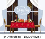 traditional christmas table... | Shutterstock .eps vector #1530395267