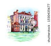 watercolor sketch of palazzo in ... | Shutterstock . vector #1530435677