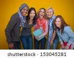 cheerful group of friends... | Shutterstock . vector #153045281