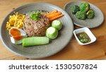 Stock photo fried rice shrimp paste chili sauce with mackerel fried in thai call nam prik kapi with salted egg 1530507824
