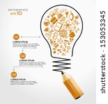 creative splash pencil and bulb ... | Shutterstock .eps vector #153053345