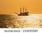 Silhouette Of The Ancient Ship...