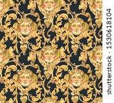 watercolor golden baroque angel ... | Shutterstock . vector #1530618104