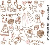 set of beautiful wedding doodle ...