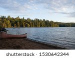Canoe On Beach Campsite...