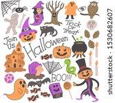 halloween doodle hand drawn... | Shutterstock .eps vector #1530682607