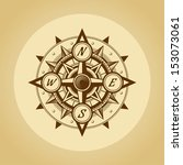 wind rose in old retro style.... | Shutterstock .eps vector #153073061