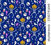 halloween seamless pattern with ... | Shutterstock .eps vector #1530741644