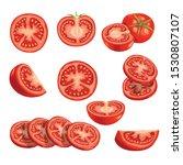 Fresh Cartoon Tomatoes. Red...