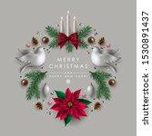 christmas wreath made of white...   Shutterstock .eps vector #1530891437