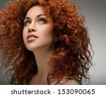 red hair. beautiful woman with... | Shutterstock . vector #153090065