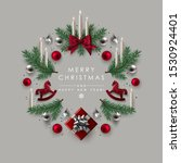 christmas wreath made of pine...   Shutterstock .eps vector #1530924401