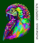 Macaw Parrot. Abstract  Neon...