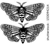 lacy death's head moth.... | Shutterstock .eps vector #153094214
