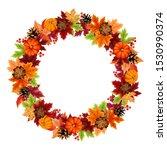 vector autumn wreath with... | Shutterstock .eps vector #1530990374