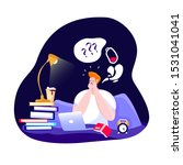 worried student with insomnia... | Shutterstock .eps vector #1531041041