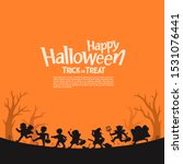 happy halloween. silhouette of... | Shutterstock .eps vector #1531076441